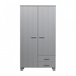 Dulap gri deschis din lemn de pin 202 cm Dennis Concrete Grey Woood