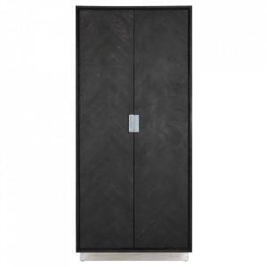 Dulap negru/argintiu din lemn si inox 220 cm Blackbone Cabinet Big Richmond Interiors