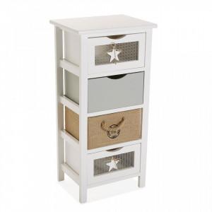 Dulapior multicolor din lemn cu 4 cutii Buck Four Boths Versa Home