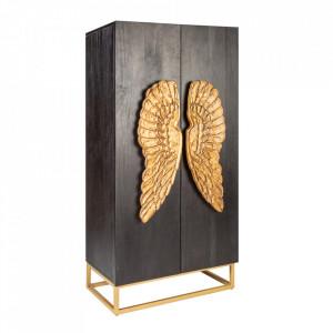 Dulapior negru/auriu din lemn de mango si metal Angel Invicta Interior