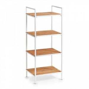 Etajera alba/maro din metal si lemn 95 cm Floor Shelf Bamboo White Zeller