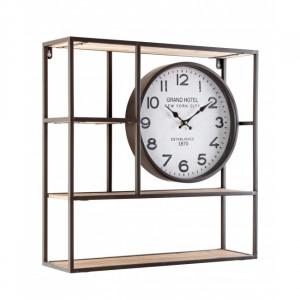 Etajera cu ceas maro din MDF si otel pentru perete 53 cm Ticking Shelf Bizzotto