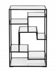 Etajera neagra/transparenta din metal si sticla 71 cm Glass Display Nordal