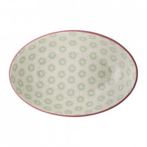Farfurie adanca alba/verde din ceramica 15x23 cm Patrizia Bloomingville