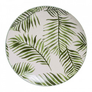 Farfurie alba/verde din ceramica 20 cm Jade Bloomingville
