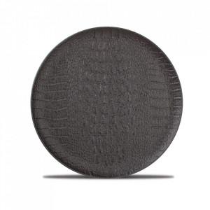 Farfurie intinsa neagra din portelan 21 cm Croco Fine2Dine