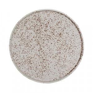 Farfurie rotunda ceramica alb/maro 18 cm Sui Bloomingville