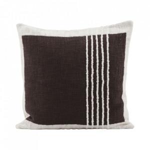 Fata de perna alba/maro din bumbac 50x50 cm Yarn House Doctor