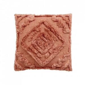 Fata de perna patrata roz din bumbac 48x48 cm Shaggy Nordal