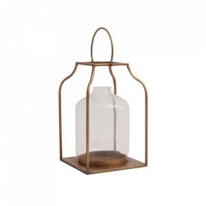 Felinar maro cupru/transparent din otel si sticla 36 cm Wells Vical Home