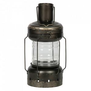 Felinar negru din metal si sticla 44 cm Flash Be Pure Home