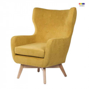 Fotoliu galben din lemn si poliester Lisbon Yellow  Somcasa