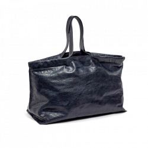 Geanta albastru navy din piele Shopper XL Serax