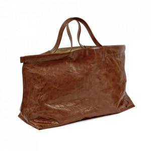 Geanta maro coniac din piele Shopper XL Serax