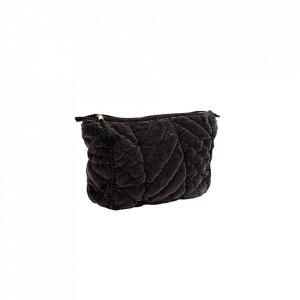 Geanta matlasata gri carbune din catifea si bumbac 17x21 cm pentru cosmetice Charcoal Velvet Mini Madam Stoltz