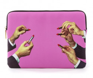 Geanta multicolora din poliester si poliuretan 25x34,5 cm pentru laptop Lipsticks Pink Toiletpaper Seletti