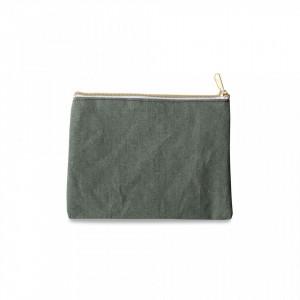 Geanta verde din bumbac si poliester pentru cosmetice Pouch Mint Opjet Paris