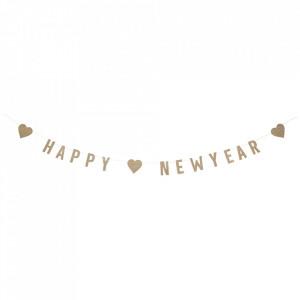 Ghirlanda decorativa maro/argintie din hartie Happy New Year Madam Stoltz