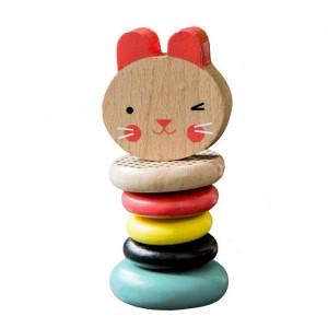 Jucarie multicolora din lemn Rabbit Petit Collage