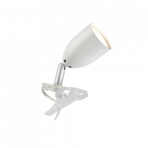 Lampa birou alba din plastic si metal cu LED 11 cm Leo Brilliant