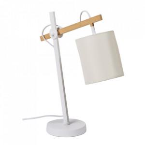 Lampa birou alba din textil si metal 53 cm Esva Somcasa