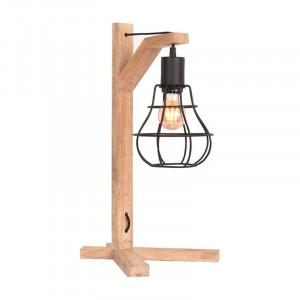 Lampa birou neagra/maro din metal si lemn 53 cm Drop LABEL51