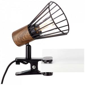 Lampa birou neagra/maro din metal si plastic 18 cm Manama Brilliant