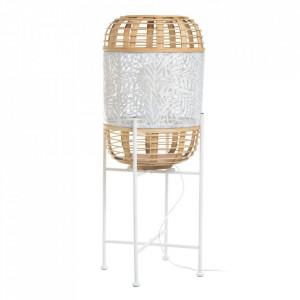 Lampadar alb/crem din ratan si fier 71,5 cm Jijiy Ixia