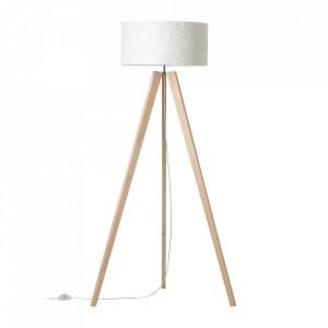 Lampadar alb/maro din textil si lemn 158 cm Galance Brilliant