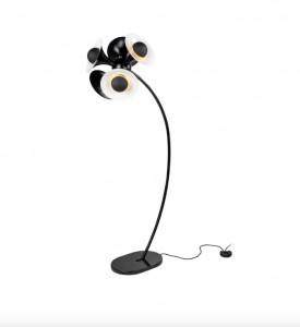 Lampadar dimabil negru/alama din alama si marmura cu 5 becuri 183 cm Jazz Floor Black Versmissen