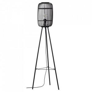 Lampadar maro inchis/negru din lemn si metal 130 cm Woodrow Brilliant