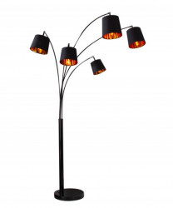 Lampadar negru/auriu din metal si textil cu 5 becuri 202 cm Levels Floor Sad Invicta Interior
