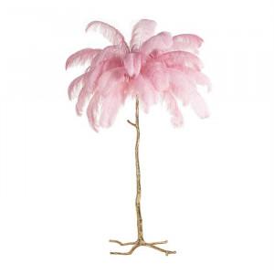 Lampadar roz/auriu din pene si cupru cu 5 becuri 175 cm Burlesque Richmond Interiors