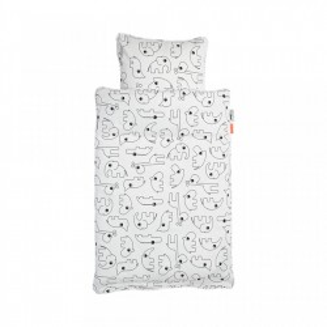 Lenjerie pat alb/negru din bumbac 100x140/40x60 cm White Done by Deer