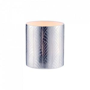 Lumanare cu suport argintiu din portelan 7,5 cm Deco Lealight Bolia