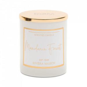 Lumanare parfumata cu suport alb/auriu din sticla 8 cm Mandarin Riviera Maison