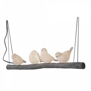 Lustra alba din portelan si lemn cu 4 becuri Birds Branch Opjet Paris