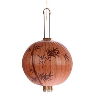 Lustra dimabila maro/rosie din bambus si textil Traditional Lantern HK Living