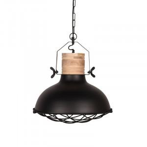 Lustra neagra/maro din metal si lemn Grid LABEL51