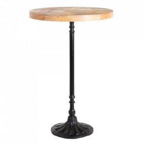 Masa bar neagra/maro din lemn de mango si fier 70 cm Rey Denzzo