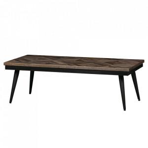 Masa cafea maro/neagra din lemn de tec si fier 60x120 cm Rhombic Be Pure Home