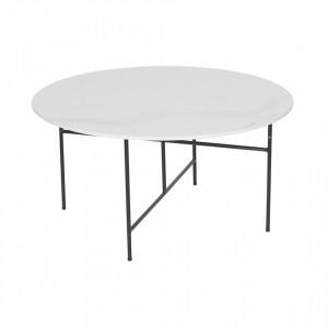 Masa cafea rotunda din portelan alb 80 cm Vida Woood