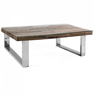 Masa de cafea maro/argintie din lemn si inox 100x100 cm Stanton Bizzotto
