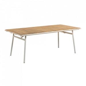 Masa dining alba/maro din lemn de salcam si metal pentru exterior 100x200 cm Robyn La Forma