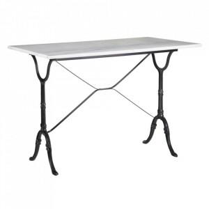 Masa dining alba/neagra din marmura si metal 60x100 cm Lobos Ixia