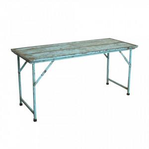 Masa dining albastra din fier si lemn 62x153 cm Market Raw Materials