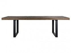 Masa dining extensibila maro/neagra din lemn si metal 100x265 cm Herringbone Extension Richmond Interiors