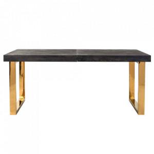Masa dining extensibila neagra/aurie din lemn si inox 100x195(265) cm Blackbone Gold Extendable Richmond Interiors