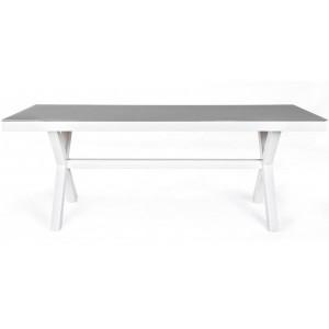 Masa dining gri/alba din sticla temperata si aluminiu pentru exterior 89x200 cm Crozet Bizzotto