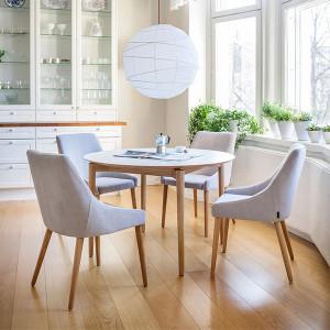 Masa dining maro/alba din MDF si lemn 115 cm Barbara Woodman